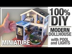 DIY MINIATURE SEATTLE DOLLHOUSE | MY MODERN VERSION with Pool And Led-Lights 100%DIY - YouTube