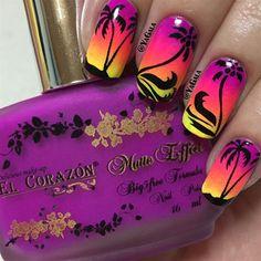Palm Trees!  by Yagala - Nail Art Gallery nailartgallery.nailsmag.com by Nails Magazine www.nailsmag.com #nailart