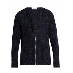 Raey Donegal-wool zip-through cardigan ($473) ❤ liked on Polyvore featuring men's fashion, men's clothing, men's sweaters, navy, mens cable knit cardigan sweater, mens zipper sweater, mens zip up sweater, mens vneck sweater and mens cardigan sweaters