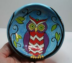 Small Trinket Clay Bowl with Whimsical Owl Design by HeartHomes