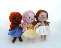Set of 3 knitted mini dolls  Sugar Plum Fairies by Yarnigans