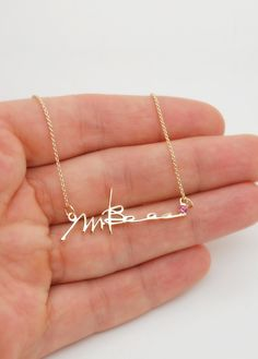 Signature necklace: handwriting in 14k gold necklace with birthstone; order online a custom gold necklace - it can be a signature, any word, artwork or name necklace; statement necklace ✦ initials necklace ✦ monogram necklace #jewelrysavenko
