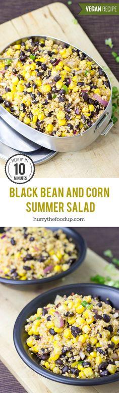 High Protein Black Bean and Corn Summer Salad #vegan #beansalad | hurrythefoodup.com