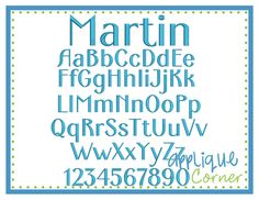 "Applique Corner - Martin Font - .5"", 1"", 1.5"", 2"", 2.5"", 3"" sizes"