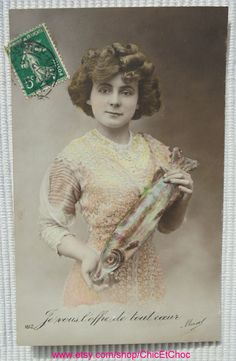 Antique French Poisson d'Avril Postcard - Young Woman Holding a Large Fish by ChicEtChoc on Etsy