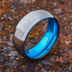 EMBR Silver Tungsten Ring - Resilient Blue