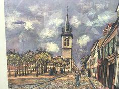Vtg Framed Print Art Maurice Utrillo Melun Place Saint Barthelemy and Church | eBay