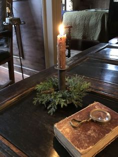 An century hogscraper candlestick with nice patina. Includes the prickly pine candle ring! Primitive Christmas, Rustic Christmas, Simple Christmas, Winter Christmas, Vintage Christmas, Christmas Ideas, Colonial Home Decor, Primitive Kitchen, Candlesticks