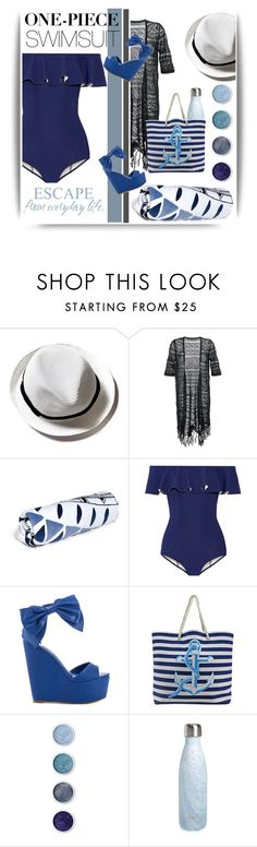 """""""One-Piece Swimsuit #2"""" by emhenry ❤ liked on Polyvore featuring Guild Prime, The Beach People, Lisa Marie Fernandez, Privileged, Terre Mère and S'well"""