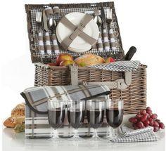Picnic Basket Beach Travel Parks Cutlery Plates Glasses Tableware Fleece Blanket #VonShefPicnicBasket