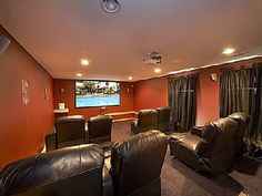 Private Home Theater   •8 Ultra Comfortable Theater Recliners   •Surround Sound  •8 Foot Screen
