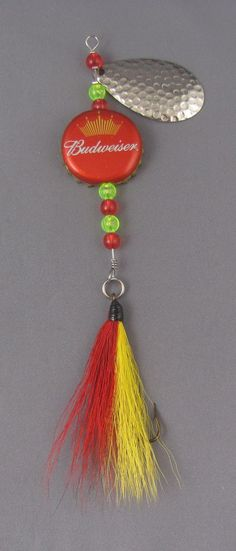 Budweiser Beer cap fishing lure spinner with bucktail dressed hooks on Etsy, $2.00