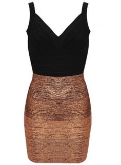 ustrendy, Bqueen Bandage Dress Mixing Black and Bronze H138Z,  Dress, Bqueen Bandage Dress Mixing Black and, Chic