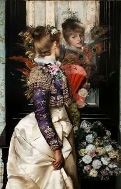 Sweet Reflections Gabriel Schachinger (German, Oil on canvas. Sweet Reflections is a painting of great virtuosity. Gabriel Schachinger, court painter to King. Gabriel, Steam Girl, Mirror Image, Mirror Mirror, Mirrors, Victorian Art, Victorian Fashion, Glamour, Beautiful Paintings
