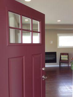 A burgundy front door is warm & welcoming. ©Curtis Homes, Hood River OR Best Front Door Colors, Green Front Doors, Painted Front Doors, Black House Exterior, House Paint Exterior, Exterior House Colors, Sliding Closet Doors, Sliding Glass Door, Burgundy Paint
