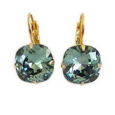 Liz Palacios Gold Plated Large Cushion Crystal Earrings - Erinite CLE-10 Liz Palacios, Large Cushions, Crystal Earrings, Plating, Crystals, Gold, Jewelry, Jewlery, Jewerly