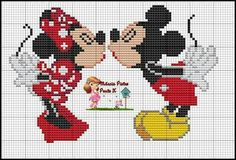 Minnie and Mickey Mouse x-stitch Cross Stitch Boards, Cross Stitch Love, Cross Stitch Kits, Cross Stitch Designs, Mickey Mouse And Friends, Mickey Minnie Mouse, Cross Stitching, Cross Stitch Embroidery, Modele Pixel Art