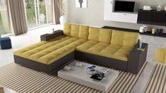 Coltar modern extensibil, disponibil in 2 variante de dimensiuni , plasa de arcuri sinusoidale si lada pentru depozitare. Outdoor Sectional, Sectional Sofa, Couch, Tenerife, Outdoor Furniture, Outdoor Decor, Living Room, Home Decor, Template