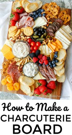 Learn how to make a Charcuterie board for a simple no-fuss party snack! A meat and cheese board with simple everyday ingredients is an easy appetizer! #spendwithpennies #appetizer #party #cheeseandcrackers #appetizerplatter