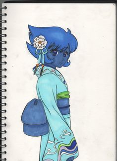I really like Lapis and Kimono…. and it would be cute to see Lapis IN a Kimono    Lapis lazuli steven universe kimono flower camellia hairpin blue dress japanese obi copic ciao marker draw work drawing artwork