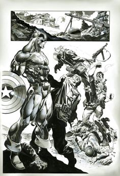 Capt América & Nick Fury by Claudio Castellini Comic Book Characters, Comic Book Heroes, Marvel Characters, Comic Character, Comic Books Art, Arte Dc Comics, Marvel Comics Art, Marvel Heroes, Marvel Universe