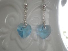 Blue Crystal Heart Earrings by SimplyElegantandMore on Etsy, $12.00