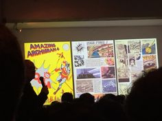 "ARCHIGRAM celebration @ AA London, 5th Dec'14 ""The Opera screened amidst large-scale Zoo creatures and pop-ups from the Archigram archive."" Peter Cook lecture, Photo: Theo Lorenz"