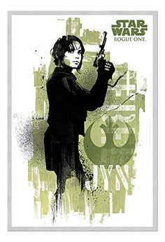 Star Wars Rogue One Jyn Grunge Poster Silver Framed  965 x 66 cms Approx 38 x 26 inches >>> Click on the image for additional details.