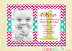 1st Birthday Girl Invitation - Pink Chevron & Polka Dots Custom Photo Invitation for ANY age -  Printable First Birthday Invite