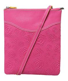 This Pink Flower-Embossed Faux Leather Crossbody Bag by Mellow World is perfect! #zulilyfinds