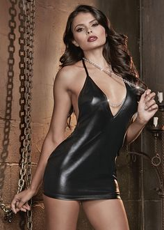 Black shiny fetish chemise features choke chain leash and open backside