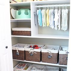 Wicker baskets, wallpaper, fun colored paint or curtains are just some ways to decorate a baby nursery closet. Click through for more tips.