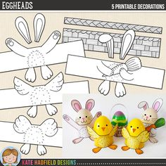 Easy Easter egg wrap craft for kids! Just print, cut out and colour in! Easter Eggheads printables from Kate Hadfield Designs