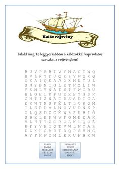 #ClippedOnIssuu from Nyomtatható szókereső rejtvény - Kalóz bulira Hidden Pictures, Special Needs, Classroom Management, Elementary Schools, Pirates, Activities For Kids, Literature, Language, Teacher