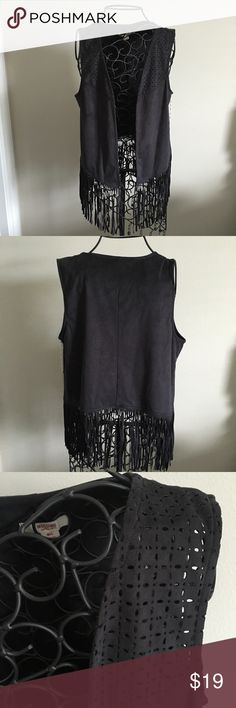 "Black Fringe Cut Out Vest. NWOT New without tags. Black. Laser cut out detail in front. Frying bottom detail. 90% polyester and 10% spandex. Open front.  ❌ No trades or off Poshmark transactions.   👌🏻Quick shipping.   💁🏻Offers welcome through ""Make an Offer"" feature.   👗👠 Bundle discount.   ❔ Feel free to ask any questions. Mossimo Supply Co Jackets & Coats Vests"