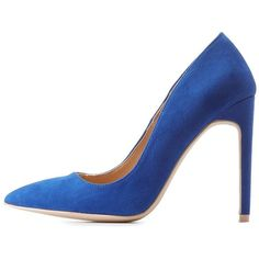 Charlotte Russe Pointed Toe Stiletto Pumps (125 PEN) ❤ liked on Polyvore featuring shoes, pumps, cobalt, pointed-toe pumps, stiletto pumps, pointy toe stilettos, pointy shoes and pointed toe high heels stilettos