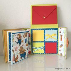 """Stampin'Up!, Kinderalbum, Designerpapier """"Nostalgischer Geburtstag"""", Leporello, Mini-Leporello, Geschenkband mit Kreuzstich"""
