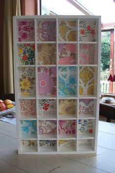 wallpaper project - Such a pretty idea! Especially for those cheap-looking cases from Walmart. Furniture Makeover, Diy Furniture, Diy Tapete, Vitrine Design, Diy Home Decor, Room Decor, Craft Storage, Cubby Storage, Girl Room