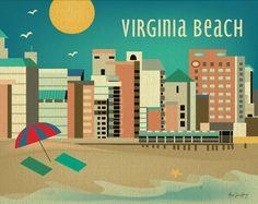 Virginia Beach, Virginia Horizontal 8 x 10 Skyline Art Poster Print - Destination Art for Home, Office, and Nursery - BRAND NEW - E8-O-VA. $26.00, via Etsy.