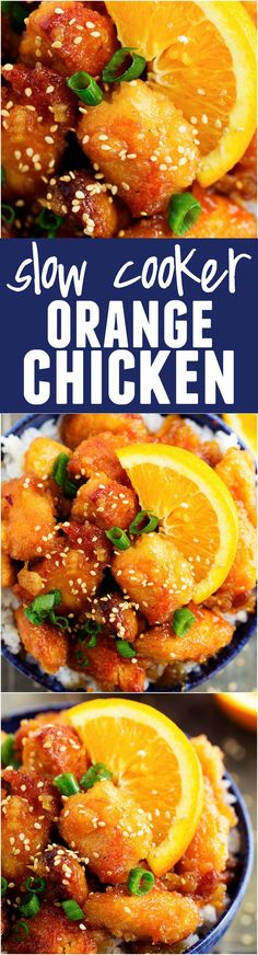 This Slow Cooker Orange Chicken is WAY BETTER than TAKEOUT!! So delicious!!