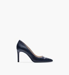 BLUE CROCODILE-EMBOSSED COURT SHOE