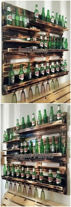This image will make you reveal out with yet another amazing creation of wood pallet to add it in your house instantly. This is a wine rack design that is all style up with low bottom effect where different divisions of set up of shelves that has been undertaken. Add some artistic flavors in your house.