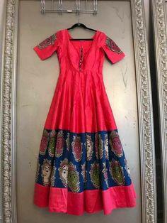 Haute spot for Indian Outfits. Kalamkari Designs, Churidar Designs, Indian Gowns, Indian Outfits, Indian Wear, Kalamkari Dresses, Anarkali Dress, Gown Dress, Indian Designer Wear