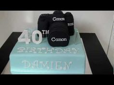 Fondant Camera Cake for Damien's Birthday. This cake goes with another cake for my friend Anna and Damien's engagement. Themed Birthday Cakes, Themed Cakes, 40th Birthday, Camera Cakes, Nursery Bible Verses, Surprise Cake, Cake Youtube, Cupcakes, Party Ideas