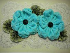 Aqua Velvet Ribbon Flower Applique