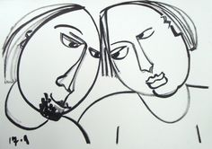 Drawing black and white  ink on paper by AteliervanBiesbergen Two friends together