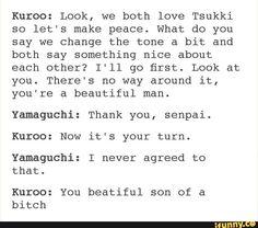 haikyuu, tumblr, kuroo, yamaguchi, troll