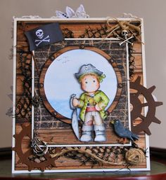 Magnolia Tilda Pirate Edwin. 2 sided card for Pirate and Mermaid themed Birthday