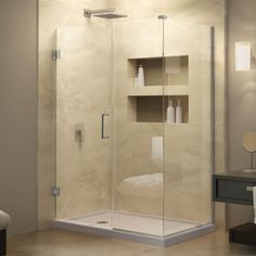 Buy the DreamLine Oil Rubbed Bronze Direct. Shop for the DreamLine Oil Rubbed Bronze Unidoor Plus 58 in. W x 30 in. D x 72 in. H Hinged Shower Enclosure, Half Frosted Glass Door, Satin Black Hardware Finish and save. Corner Shower Enclosures, Frameless Shower Enclosures, Frameless Shower Doors, Bathroom Shower Doors, Small Bathroom, Master Bathroom, Shower Basin, Glass Shower, Diy Home Decor Rustic