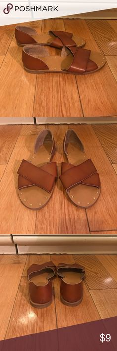 Tan sandals Tan, faux leather sandals. Worn once. Merona Shoes Sandals